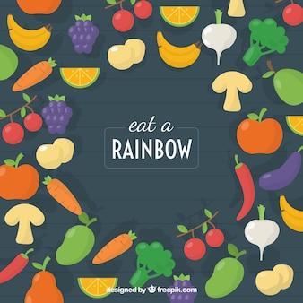 Composition colorée avec de la nourriture saine