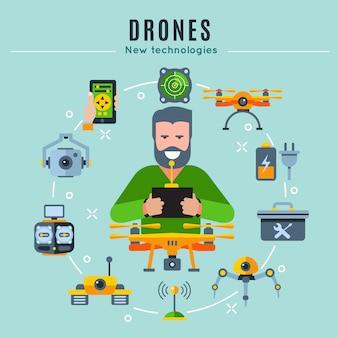 Composition colorée de drones avec homme jouant au centre