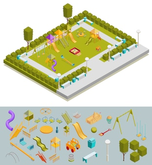 Composition colorée du terrain de jeu isométrique