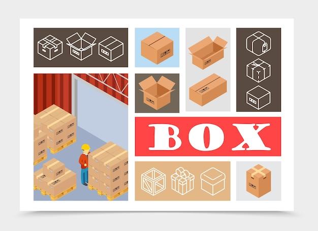 Composition colorée d'emballage isométrique