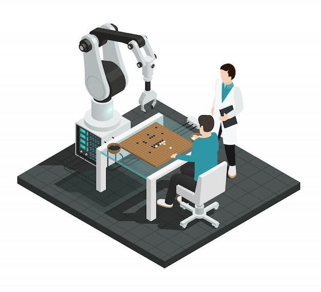 Composition colorée isométrique d'intelligence artificielle réaliste avec robot contre humain