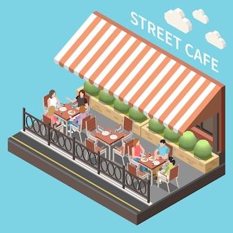 Composition colorée et isométrique de la terrasse du café de la rue terrasse d'été ouverte avec des invités