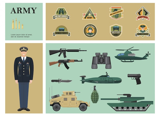 Composition colorée militaire plat avec des mitrailleuses officier jumelles pistolet grenade voiture blindée réservoir hélicoptère balles sous-marin et étiquettes de l'armée