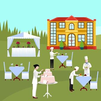 Composition colorée de personnes de cuisine