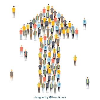 Composition colorée avec des personnes formant une flèche
