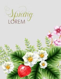 Composition colorée de printemps avec des fleurs de fleurs roses, des fraises et des feuilles vertes