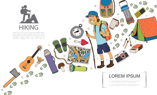 Composition colorée de randonnée dessinée à la main avec illustration touristique