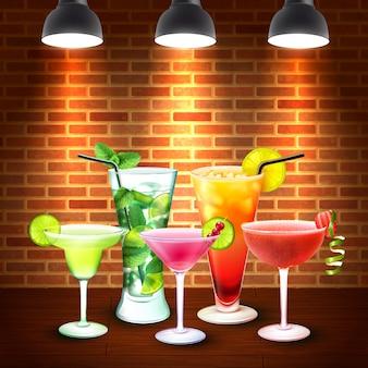 Composition colorée réaliste de cocktails