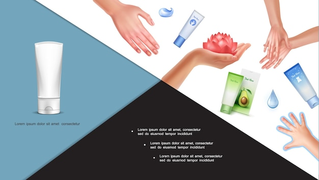 Composition colorée de soins de la peau avec de beaux bébés et des mains féminines de fleur de lotus gouttes d'eau cosmétiques tubes de crème dans un style réaliste