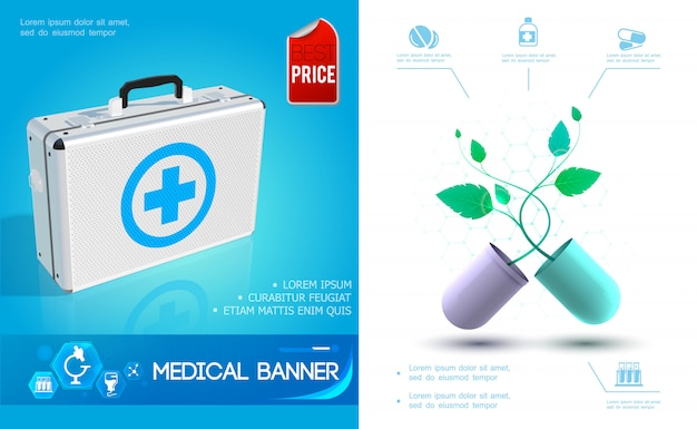 Composition colorée de soins de santé réaliste avec kit médical et capsule cassée avec plante