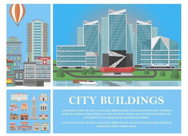 Composition colorée de ville plate avec montgolfière hôtel moderne et différents bâtiments municipaux