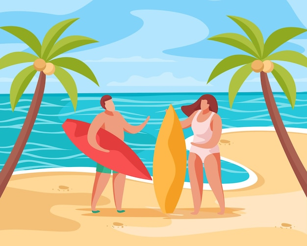 Composition de concept de fête d'été avec des paysages tropicaux de palmiers sur la plage avec illustration de personnes et de planches de surf
