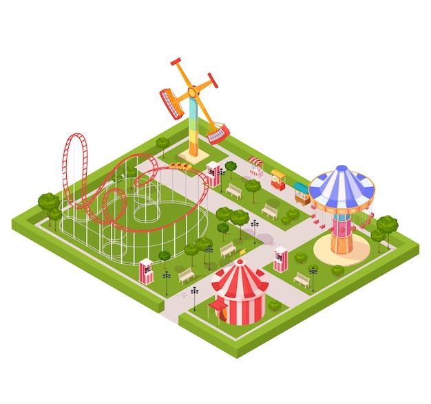 Composition de conception de parc d'attractions avec icônes isométriques de dessin animé de géant swing swing carrousel cirque tente