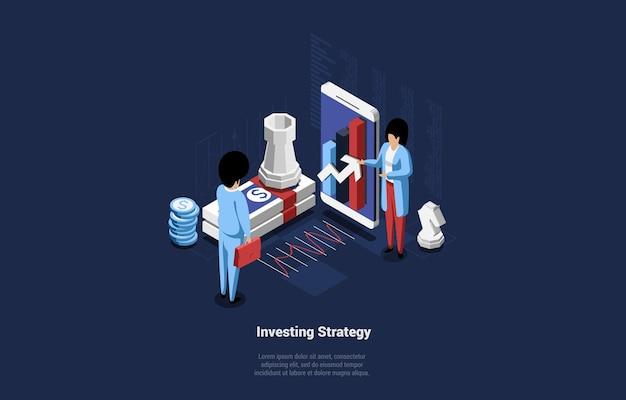 Composition conceptuelle sur l'idée de stratégie d'investissement.
