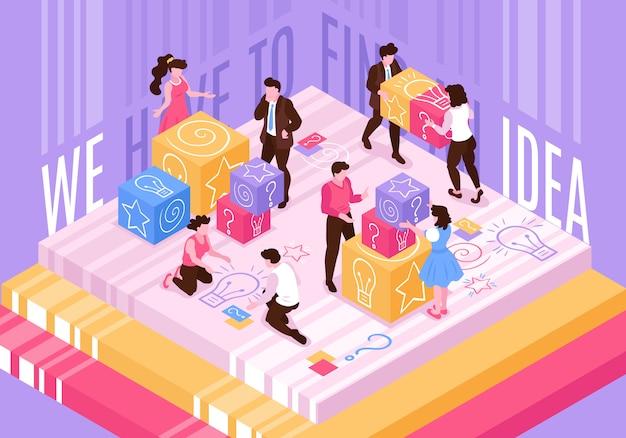 Composition conceptuelle de travail d'équipe isométrique de remue-méninges avec de petites personnes déplaçant des blocs de jouets colorés avec des pictogrammes et illustration vectorielle de texte