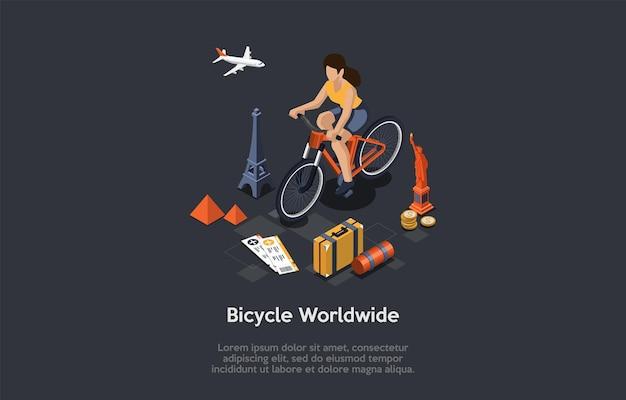 Composition conceptuelle de voyage à vélo dans le monde entier.