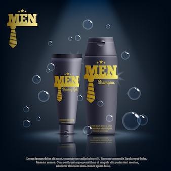 Composition de cosmétiques masculins réalistes