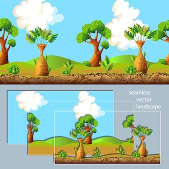 Composition de couches séparées de paysage de dessin animé