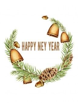 Composition de couronne de bonne année avec cloche