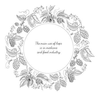 Composition de croquis de couronne de bière hop cercle avec de beaux dessins animés de fleurs et d'inscription