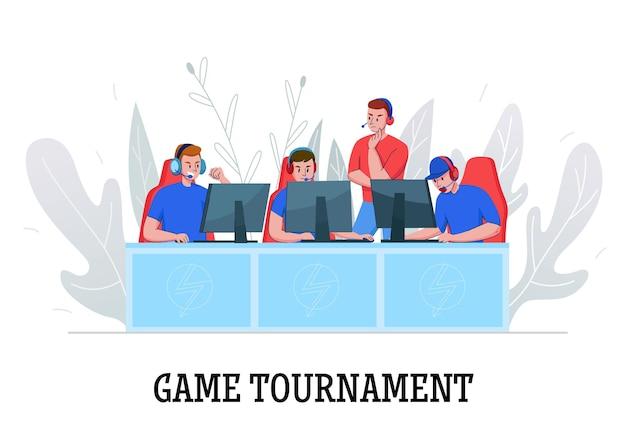 Composition de cyber-sport avec texte et illustration de personnages humains