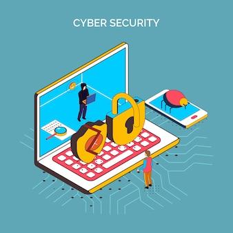 Composition de cybersécurité isométrique avec icône conceptuelle d'ordinateur portable, serrures cassées, téléphone et images de bogues illustration vectorielle