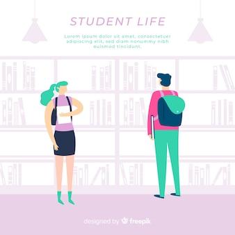 Composition de la vie étudiante moderne avec un design plat