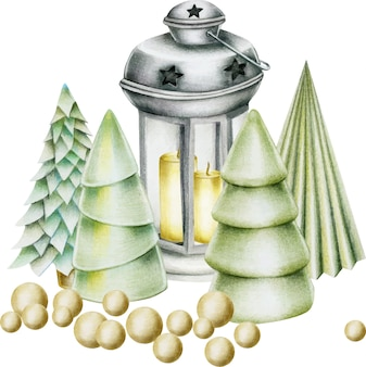 Composition de décorations de noël dessinées à la main