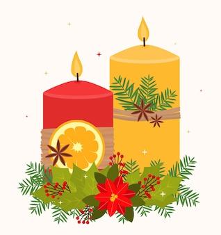 Composition décorative de noël bougies de couleur rouge et jaune