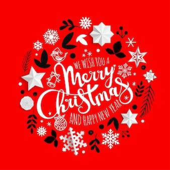Composition décorative de noël nous vous souhaitons un joyeux noël et une bonne année