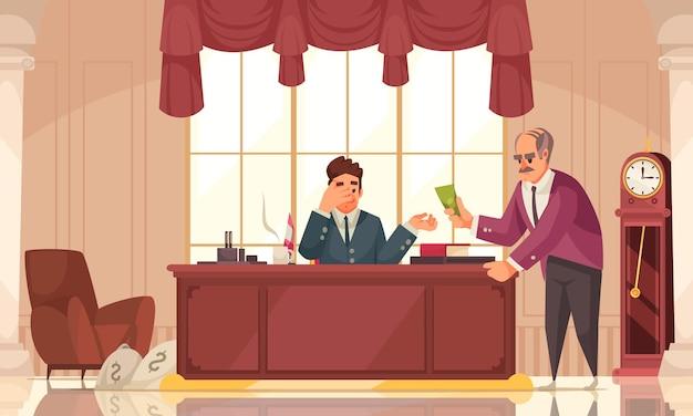 Composition de dessin animé de crime de corruption d'argent sale avec corruption d'un responsable exécutif majeur