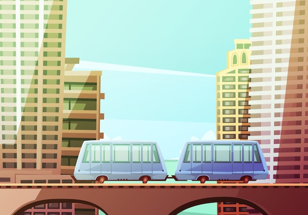 Composition de dessin animé du centre-ville de miami avec deux wagons de monorail suspendu