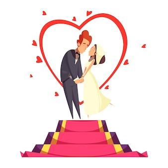 Composition de dessin animé de jeunes mariés