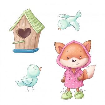 Composition de dessin animé mignon de nichoir et d'oiseaux avec renard