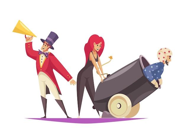 Composition de dessin animé de performance de cirque avec un homme assis dans un canon