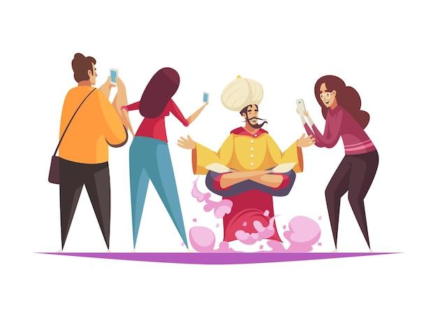 Composition de dessin animé avec des personnes prenant des photos de djinns
