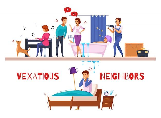 Composition de dessin animé de relations avec les voisins