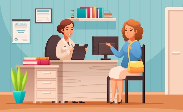 Composition de dessin animé de rendez-vous de conseil nutritionniste certifié avec diététiste conseille le client sur les choix d'aliments sains pour la cuisson