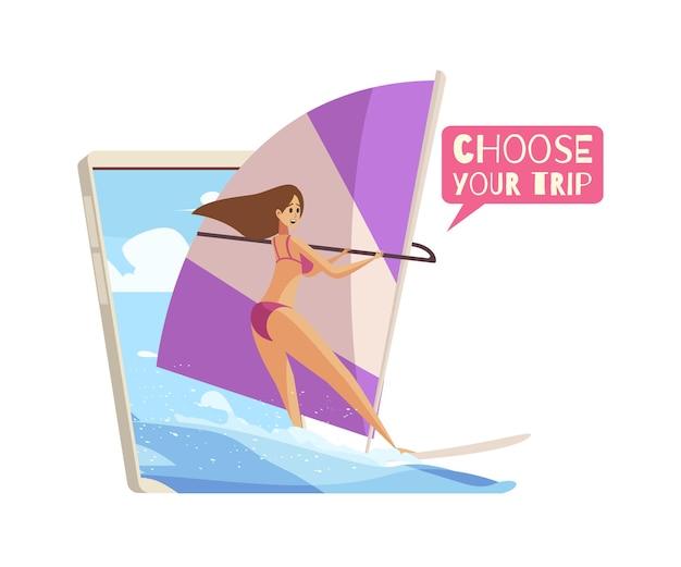 Composition de dessin animé de réservation de voyage en ligne avec une femme de surf heureuse et une illustration de smartphone