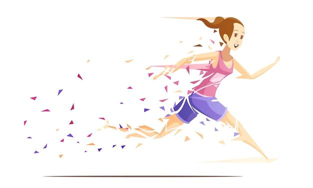 Composition de dessin animé rétro coureur femme action avec athlète fille en cours d'exécution, tombant en morceaux d'illustration vectorielle de splash papier