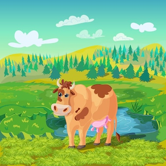 Composition de dessin animé de vache au pâturage