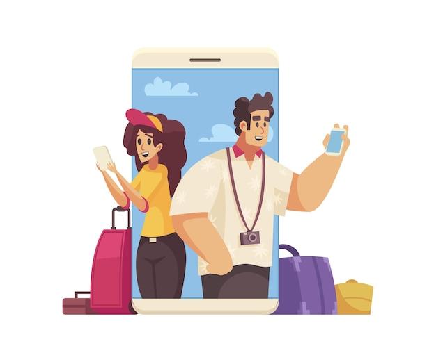 Composition de dessin animé de voyage avec des gens heureux réservant une illustration en ligne d'hôtel ou d'appartement