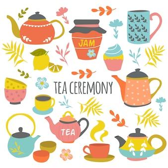 Composition dessinée à la main de la cérémonie du thé