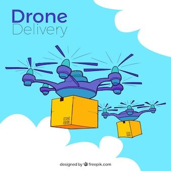 Composition dessinée à la main avec des drones de livraison