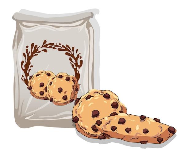 Composition de deux biscuits aux pépites de chocolat près d'un sac