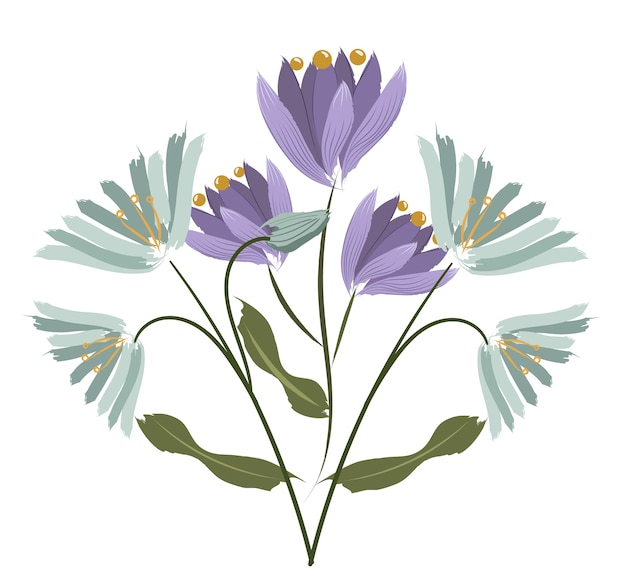 Composition de deux espèces de fleurs. crocus et agapanthes