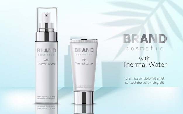 Composition de deux récipients avec cosmétiques, eau thermale. place pour le texte. réaliste