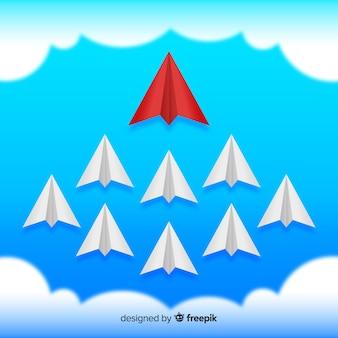 Composition de direction originale avec des avions en papier