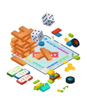 Composition de divers jeux de société. images de fond isométriques de jeux de société
