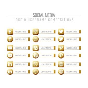 Composition dorée du logo et du nom d'utilisateur des médias sociaux